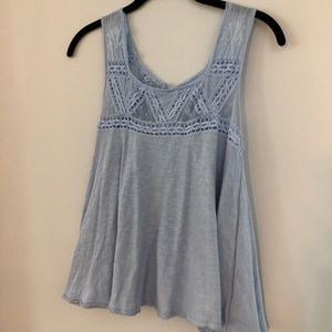 Free People Lace Blue Tank with Cut Out in Back